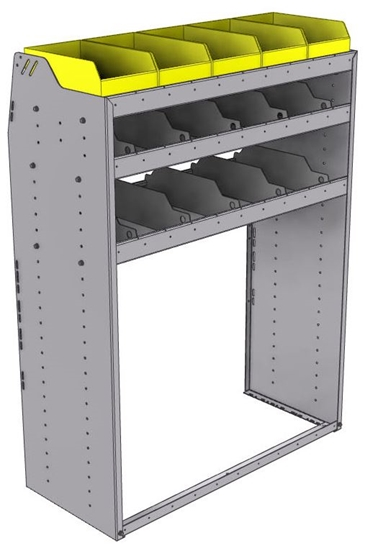 "25-4858-3 Profiled back bin separator combo Shelf unit 43""Wide x 18.5""Deep x 58""High with 3 shelves"