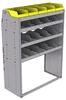 "25-4858-4 Profiled back bin separator combo Shelf unit 43""Wide x 18.5""Deep x 58""High with 4 shelves"