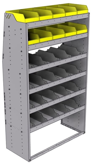 "25-4872-6 Profiled back bin separator combo Shelf unit 43""Wide x 18.5""Deep x 72""High with 6 shelves"