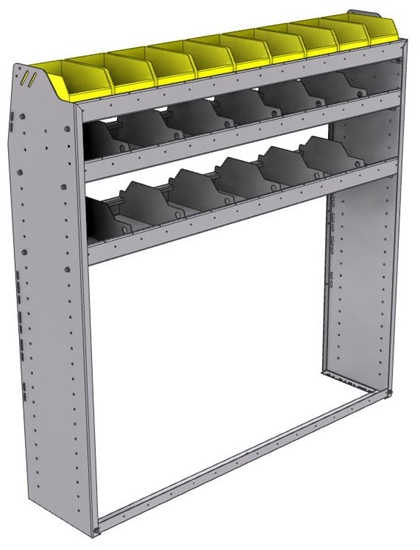 "25-5358-3 Profiled back bin separator combo Shelf unit 58.5""Wide x 13.5""Deep x 58""High with 3 shelves"