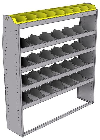 "25-5363-5 Profiled back bin separator combo Shelf unit 58.5""Wide x 13.5""Deep x 63""High with 5 shelves"