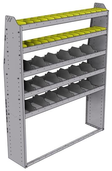 "25-5372-5 Profiled back bin separator combo Shelf unit 58.5""Wide x 13.5""Deep x 72""High with 5 shelves"