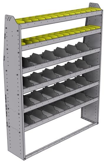 "25-5372-6 Profiled back bin separator combo Shelf unit 58.5""Wide x 13.5""Deep x 72""High with 6 shelves"