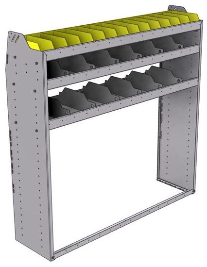 "25-5558-3 Profiled back bin separator combo Shelf unit 58.5""Wide x 15.5""Deep x 58""High with 3 shelves"