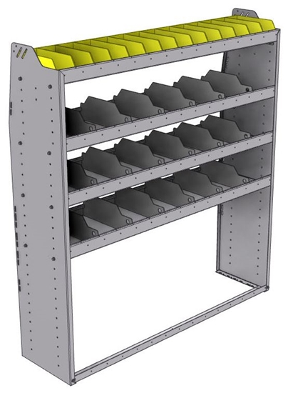 "25-5563-4 Profiled back bin separator combo Shelf unit 58.5""Wide x 15.5""Deep x 63""High with 4 shelves"