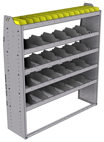 "25-5563-5 Profiled back bin separator combo Shelf unit 58.5""Wide x 15.5""Deep x 63""High with 5 shelves"