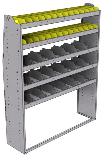 "25-5572-5 Profiled back bin separator combo Shelf unit 58.5""Wide x 15.5""Deep x 72""High with 5 shelves"