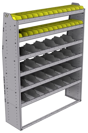 "25-5572-6 Profiled back bin separator combo Shelf unit 58.5""Wide x 15.5""Deep x 72""High with 6 shelves"