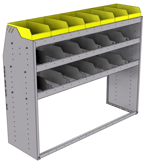 "25-5848-3 Profiled back bin separator combo Shelf unit 58.5""Wide x 18.5""Deep x 48""High with 3 shelves"