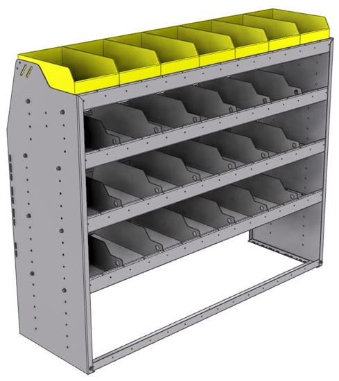 "25-5848-4 Profiled back bin separator combo Shelf unit 58.5""Wide x 18.5""Deep x 48""High with 4 shelves"