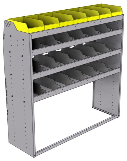 "25-5858-4 Profiled back bin separator combo Shelf unit 58.5""Wide x 18.5""Deep x 58""High with 4 shelves"