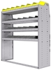 "25-5863-4 Profiled back bin separator combo Shelf unit 58.5""Wide x 18.5""Deep x 63""High with 4 shelves"