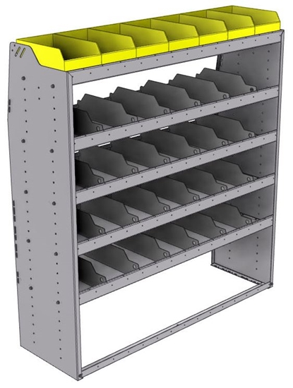 "25-5863-5 Profiled back bin separator combo Shelf unit 58.5""Wide x 18.5""Deep x 63""High with 5 shelves"