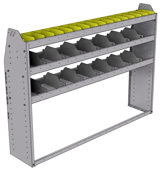 "25-6348-3 Profiled back bin separator combo Shelf unit 67""Wide x 13.5""Deep x 48""High with 3 shelves"