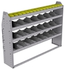 "25-6348-4 Profiled back bin separator combo Shelf unit 67""Wide x 13.5""Deep x 48""High with 4 shelves"