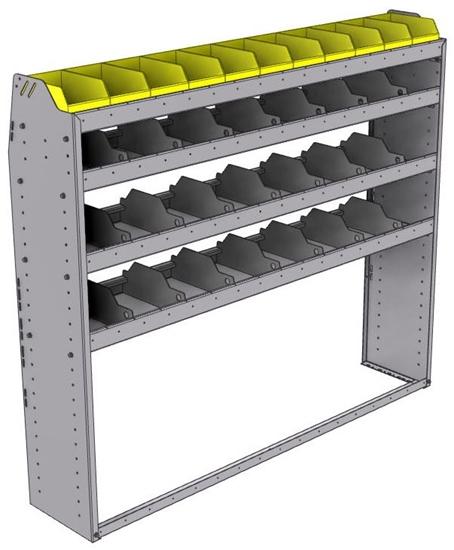 "25-6358-4 Profiled back bin separator combo Shelf unit 67""Wide x 13.5""Deep x 58""High with 4 shelves"