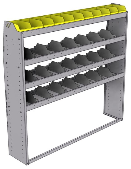 "25-6363-4 Profiled back bin separator combo Shelf unit 67""Wide x 13.5""Deep x 63""High with 4 shelves"