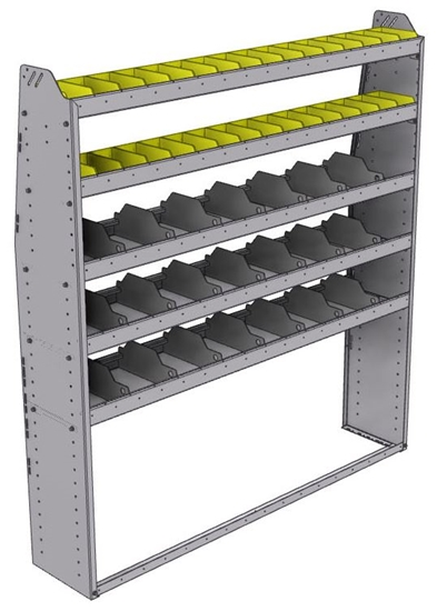 "25-6372-5 Profiled back bin separator combo Shelf unit 67""Wide x 13.5""Deep x 72""High with 5 shelves"