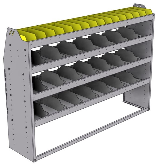"25-6548-4 Profiled back bin separator combo Shelf unit 67""Wide x 15.5""Deep x 48""High with 4 shelves"