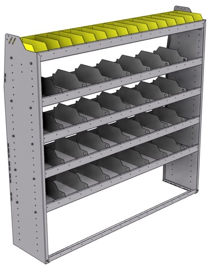 "25-6563-5 Profiled back bin separator combo Shelf unit 67""Wide x 15.5""Deep x 63""High with 5 shelves"