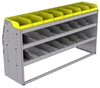 "25-6836-3 Profiled back bin separator combo Shelf unit 67""Wide x 18.5""Deep x 36""High with 3 shelves"