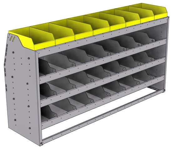 "25-6836-4 Profiled back bin separator combo Shelf unit 67""Wide x 18.5""Deep x 36""High with 4 shelves"