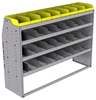 "25-6848-4 Profiled back bin separator combo Shelf unit 67""Wide x 18.5""Deep x 48""High with 4 shelves"