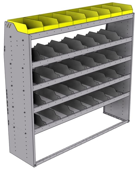 "25-6863-5 Profiled back bin separator combo Shelf unit 67""Wide x 18.5""Deep x 63""High with 5 shelves"