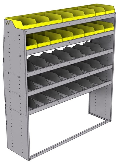 "25-6872-5 Profiled back bin separator combo Shelf unit 67""Wide x 18.5""Deep x 72""High with 5 shelves"