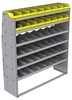 "25-6872-6 Profiled back bin separator combo Shelf unit 67""Wide x 18.5""Deep x 72""High with 6 shelves"