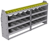 "25-7336-4 Profiled back bin separator combo Shelf unit 75""Wide x 13.5""Deep x 36""High with 4 shelves"