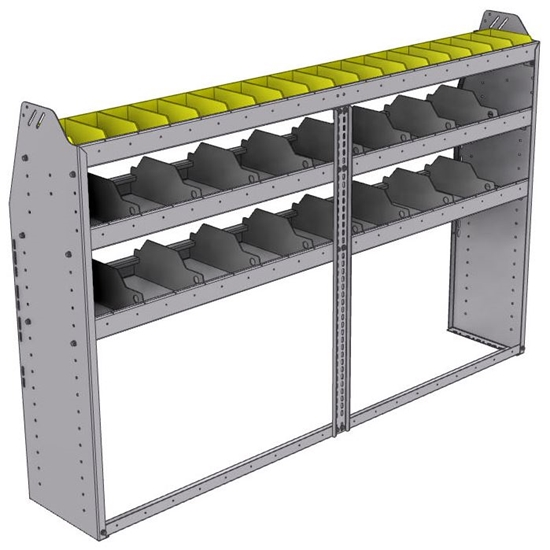 "25-7348-3 Profiled back bin separator combo Shelf unit 75""Wide x 13.5""Deep x 48""High with 3 shelves"