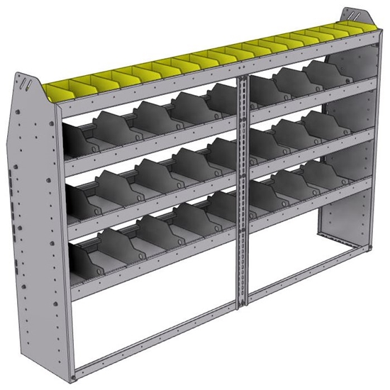 "25-7348-4 Profiled back bin separator combo Shelf unit 75""Wide x 13.5""Deep x 48""High with 4 shelves"