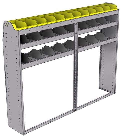 "25-7358-3 Profiled back bin separator combo Shelf unit 75""Wide x 13.5""Deep x 58""High with 3 shelves"
