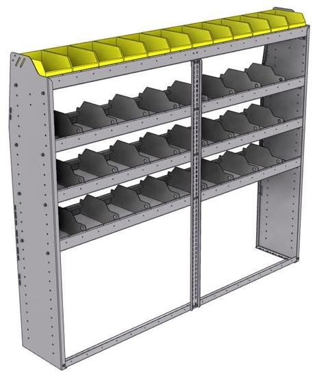 "25-7363-4 Profiled back bin separator combo Shelf unit 75""Wide x 13.5""Deep x 63""High with 4 shelves"