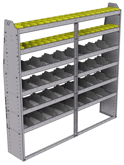 "25-7372-6 Profiled back bin separator combo Shelf unit 75""Wide x 13.5""Deep x 72""High with 6 shelves"