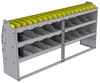 "25-7536-3 Profiled back bin separator combo Shelf unit 75""Wide x 15.5""Deep x 36""High with 3 shelves"