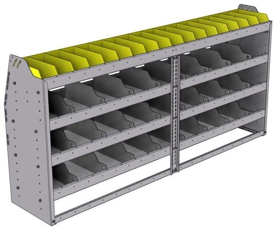 "25-7536-4 Profiled back bin separator combo Shelf unit 75""Wide x 15.5""Deep x 36""High with 4 shelves"