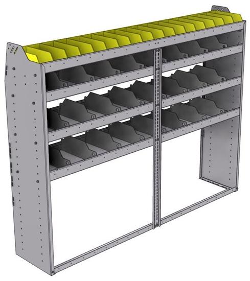"25-7558-4 Profiled back bin separator combo Shelf unit 75""Wide x 15.5""Deep x 58""High with 4 shelves"