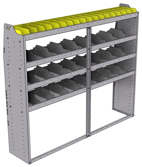 "25-7563-4 Profiled back bin separator combo Shelf unit 75""Wide x 15.5""Deep x 63""High with 4 shelves"