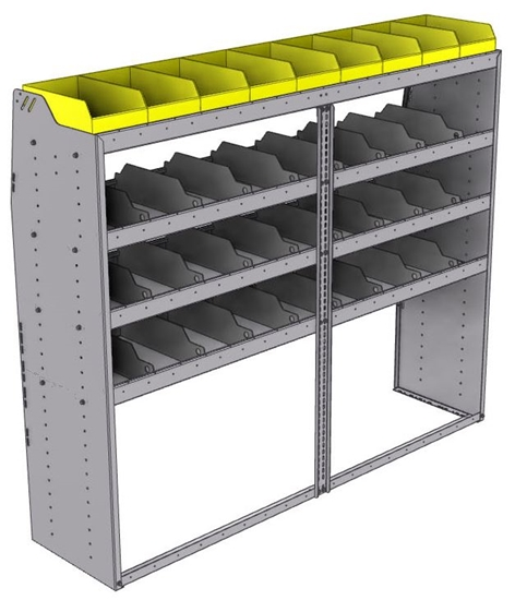 "25-7863-4 Profiled back bin separator combo Shelf unit 75""Wide x 18.5""Deep x 63""High with 4 shelves"