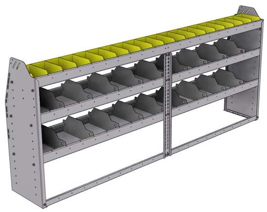 "25-8336-3 Profiled back bin separator combo Shelf unit 84""Wide x 13.5""Deep x 36""High with 3 shelves"