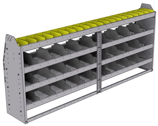"25-8336-4 Profiled back bin separator combo Shelf unit 84""Wide x 13.5""Deep x 36""High with 4 shelves"