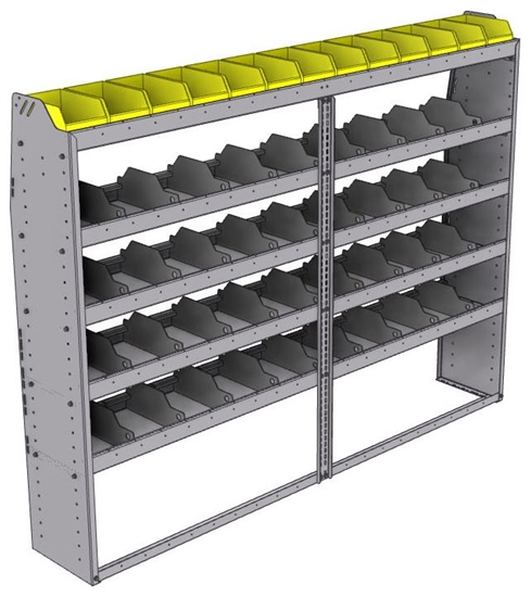 "25-8363-5 Profiled back bin separator combo Shelf unit 84""Wide x 13.5""Deep x 63""High with 5 shelves"