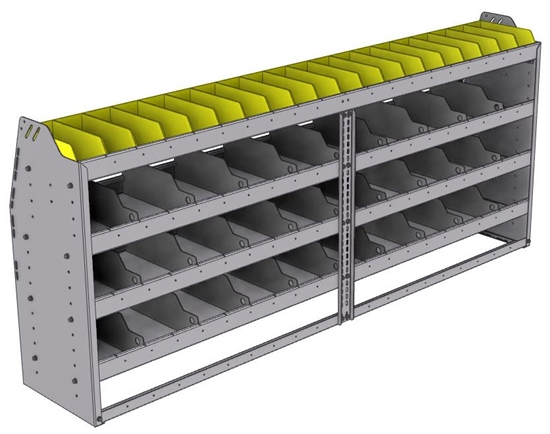 "25-8536-4 Profiled back bin separator combo Shelf unit 84""Wide x 15.5""Deep x 36""High with 4 shelves"