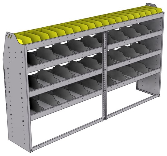 "25-8548-4 Profiled back bin separator combo Shelf unit 84""Wide x 15.5""Deep x 48""High with 4 shelves"