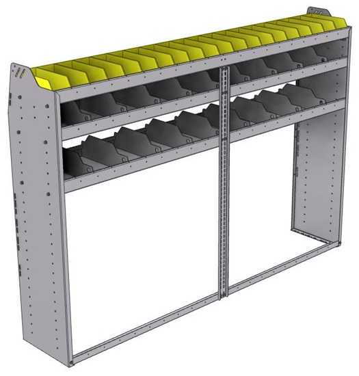 "25-8558-3 Profiled back bin separator combo Shelf unit 84""Wide x 15.5""Deep x 58""High with 3 shelves"