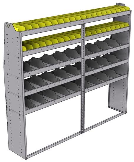 "25-8572-5 Profiled back bin separator combo Shelf unit 84""Wide x 15.5""Deep x 72""High with 5 shelves"