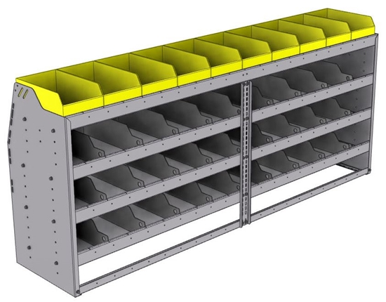 "25-8836-4 Profiled back bin separator combo Shelf unit 84""Wide x 18.5""Deep x 36""High with 4 shelves"