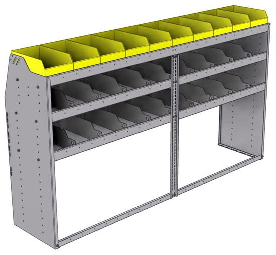 "25-8848-3 Profiled back bin separator combo Shelf unit 84""Wide x 18.5""Deep x 48""High with 3 shelves"